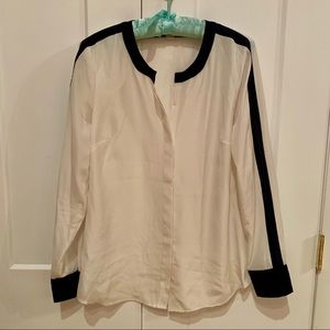 J Crew White Blouse with Navy Detail